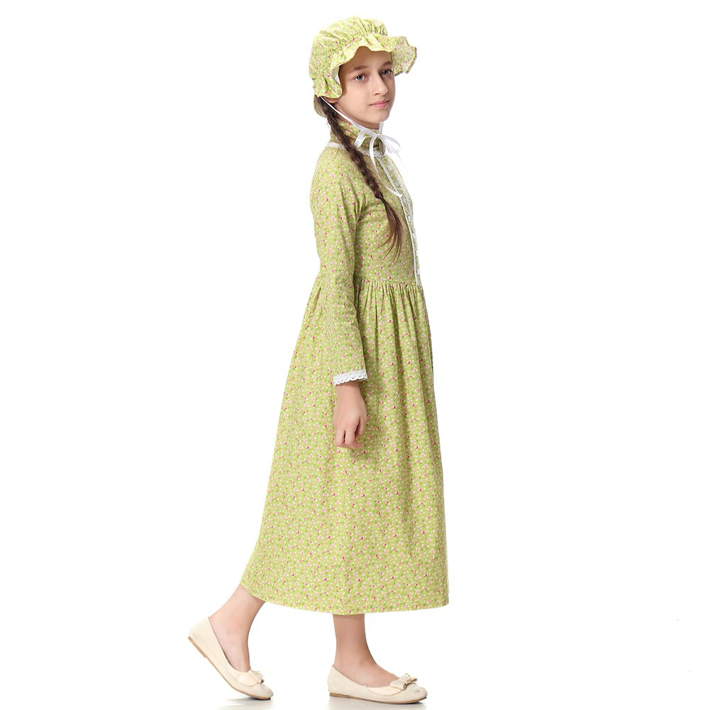 Pioneer Girl Costume Colonial Prairie Dress for Kids 100% Cotton,US14 by KOGOGO (Image #4)