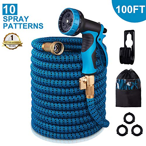 - monyar Garden Hose Expandable Water Hose 100 Feet,Extra Strength/No-Kink Lightweight/Durable/Flexible/10 Function Spray Hose Nozzle 3/4 Solid Brass Connectors Garden Hose for Watering/Washing