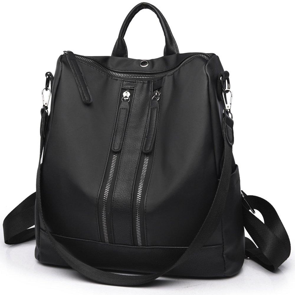 Backpack for Women Purse Nylon Rucksack Lightweight Casual Backpacks Daypack Shoulder Bags (Black 2)