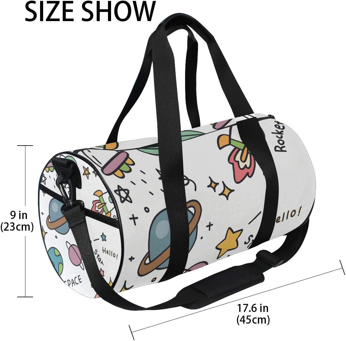 MALPLENA Rocket Space Star Drum gym duffel bag women Travel Bag