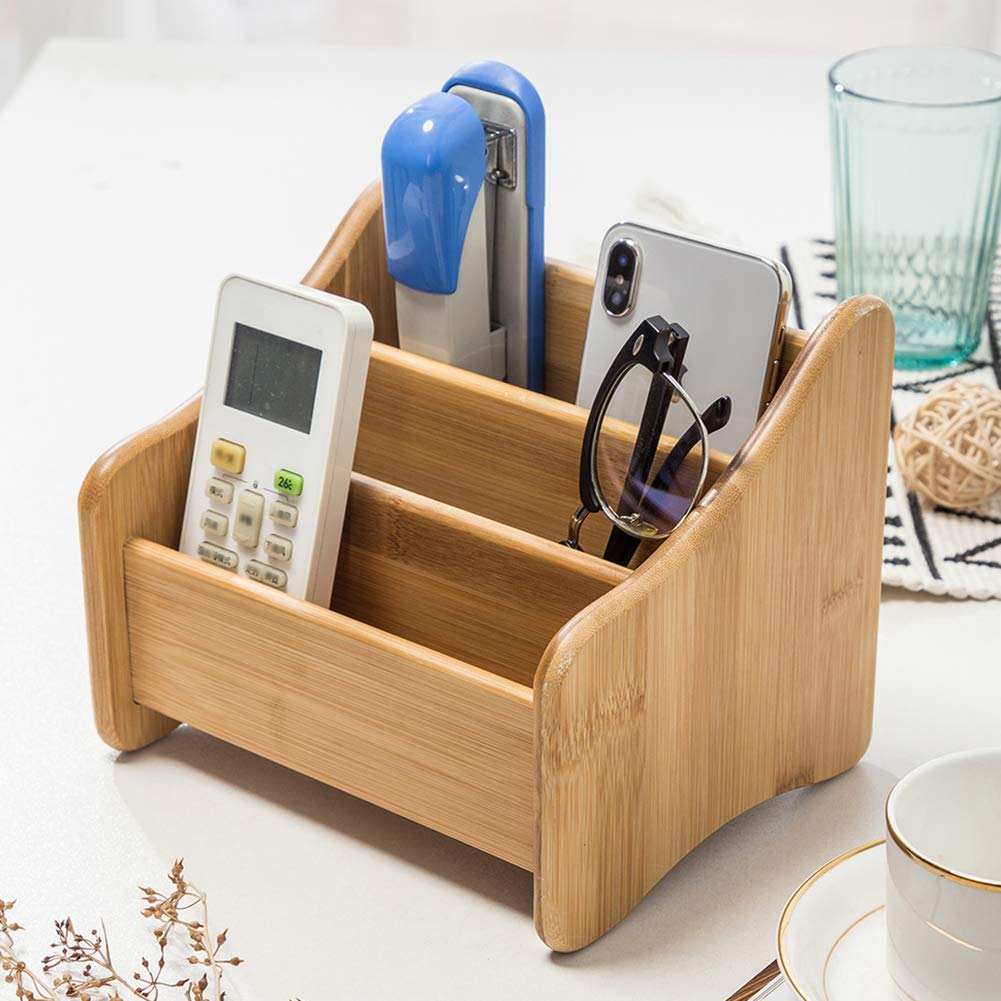 Great for Desk Vanity 100/% Natural Bamboo Desk Organizer Without Drawer Tabletop in Home or Office Premium 3-Tier Remote Control Caddy with 3 Compartments /& 1 Drawer