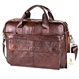 VIDENG POLO Hotest Men's Top Genuine Leather Handmade Briefcase Shoulder Messenger Business Bag From Italy Design (CP-Wild Brown)
