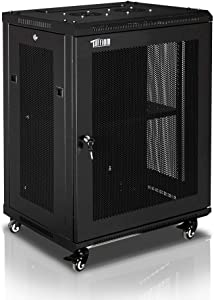 TUFFIOM 15U Casters Network Cabinet Enclosure, Wall Mount Rack w/Wheels, Deluxe 19 inch IT Series Server Data Devices Storage (Fully Assembled, Cooling Fan, Locked Door, Adjustable Mounting Rails)