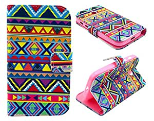 Motorola Moto E Case, Aztec Tribal Stylish Flip Wallet Credit ID Card Slot Holder Phone Case With Stand --Retail Package W Screen Protector