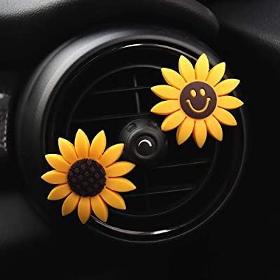 INEBIZ Car Charm Cute Yellow Sunflower Car Interior Air Vent Decorations Perfume, Creative Fragrance Air Freshener Holder & Container: Automotive [5Bkhe0106469]