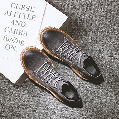 HL-PYL - Arbeitsstiefel Englisch Wind zu Schuhe Neue kurze Stiefel zurück zu alten Martin Stiefel männlichen Gao Gang 43 Grau Hilfe