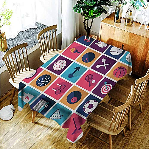 TT.HOME Small Rectangular Tablecloth,Olympics Sports Icons Image with Whistle Stopwatch Bowling and Various Types of Balls,Party Decorations Table Cover Cloth,W50x80L,Navy Purple