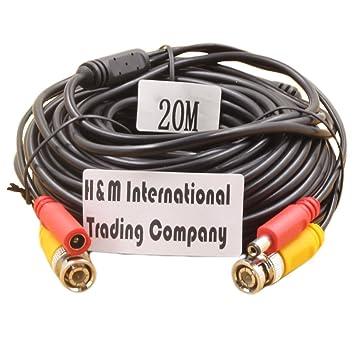Genérico de vídeo BNC y de alimentación de CC Cable de extensión / plomo con Conector para cámara de vigilancia Cámaras / CCTV Seguridad Conector 20m: ...