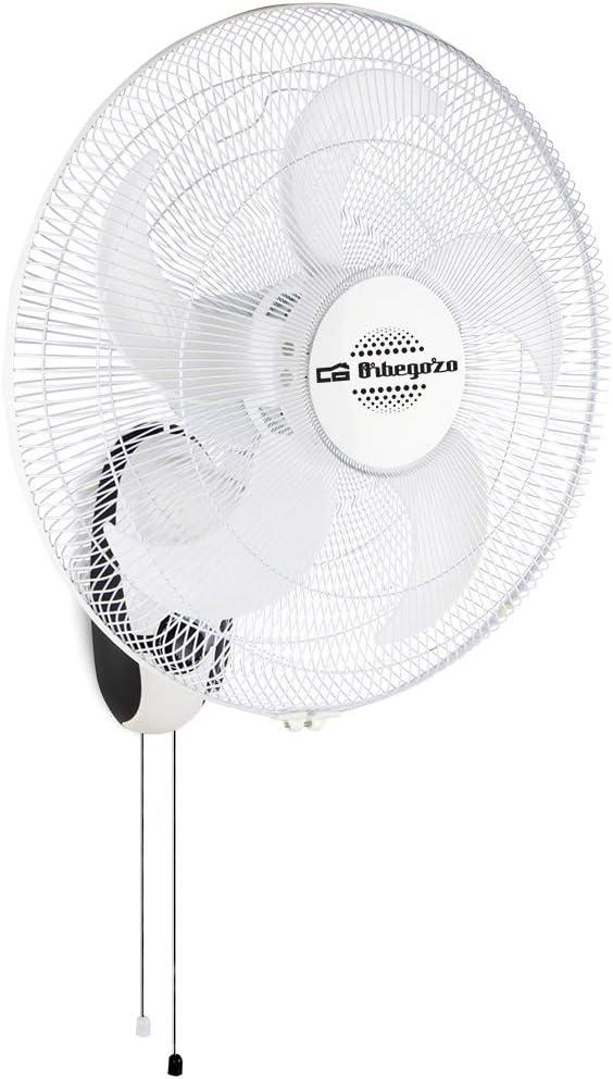 Orbegozo WF 0145 - Ventilador de pared con 5 aspas, 45 cm de diámetro, 3 velocidades de ventilación, cabezal inclinable 80 W de potencia