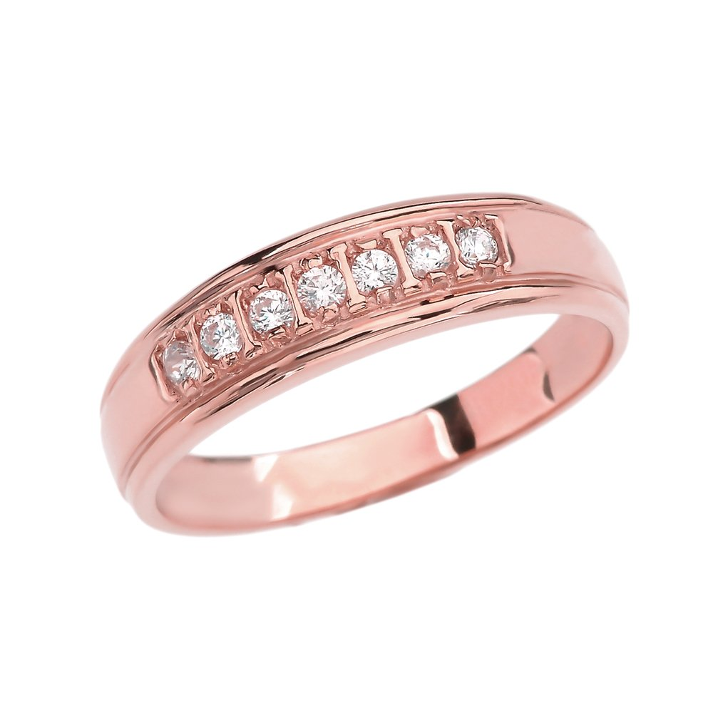 10k Rose Gold Diamond Wedding Band For Him|Amazon.com