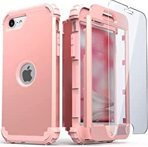 IDweel iPhone SE 2020 Case with Tempered Glass Screen Protector, Hybrid 3 in 1 Shockproof Slim Heavy Duty Hard PC Cover Soft Silicone Rugged Bumper Full Body Case for iPhone SE 2nd Gen (Rose Gold)