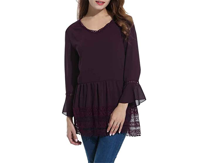 Availcx Women Chiffon Blouse Blusas New Long Flare Sleeve A-Line Lace Shirt: Amazon.es: Ropa y accesorios