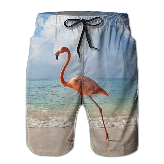 2d93b375c1 Flamingo at The Beach Men's Summer Casual Shorts Beachwear Sports Swim  Board Shorts Quick Dry Surf
