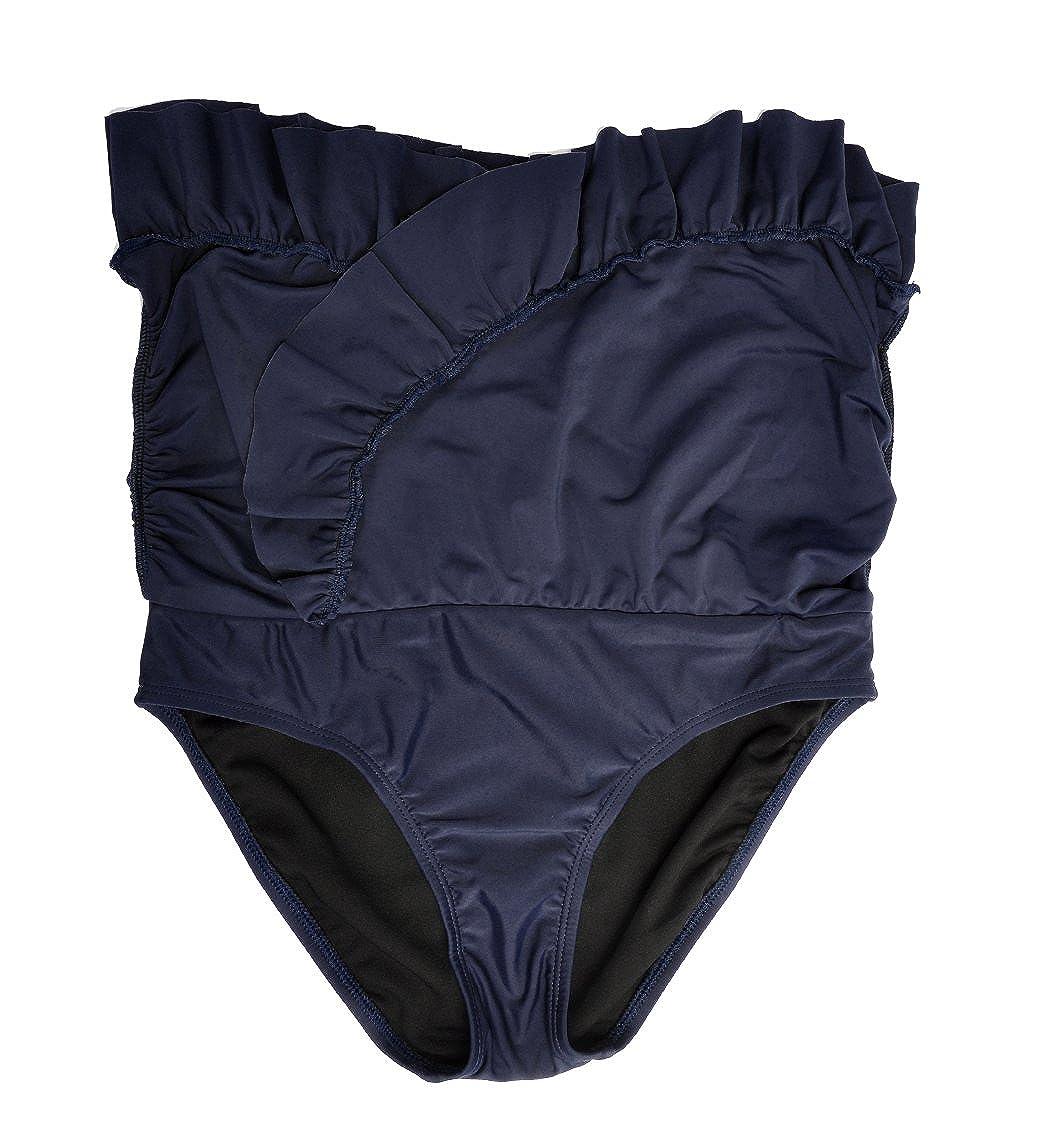 DUSISHIDAN Women Black Overlapping Ruffled Mini Swim Skirt with Panty