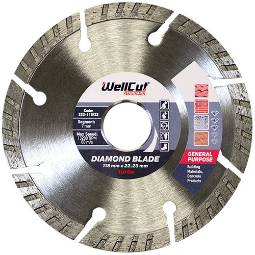 WellCut 222-115/22 Standard Turbo Bore Diamond Blade  115 x 22 mm