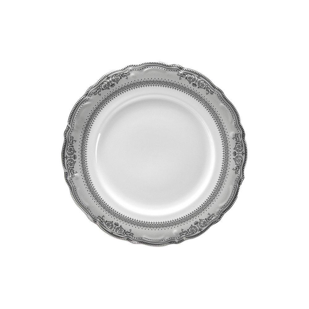 10 Strawberry Street Vanessa 8'' Salad/Dessert Plate, Set of 6, Platinum