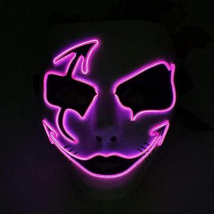 Kays Mascaras de Halloween Máscara Fluorescente De La Mueca, LED Enciende para Arriba El Festival