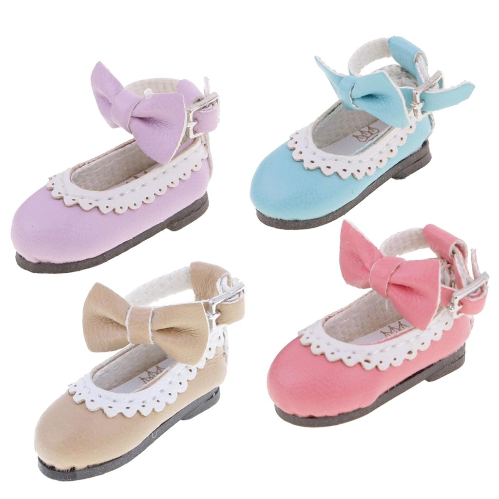 Jili Online 4 Pairs 1/6 Dolls Cute Shoes PU Leather Flats with Bow for 12'' Blythe Doll