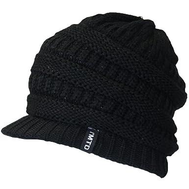 Ladies Designer Knitted Oversize Baggy Slouch Peak Beanie Ski Hat Black   Amazon.co.uk  Clothing f5fb513ada8