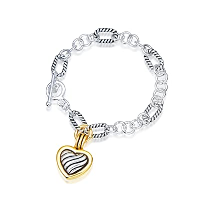 cb2dd7b84 Amazon.com: UNY Antique Cable Heart Women Jewelry Christmas Vintage Fashion  Trendy Link Bracelet: Jewelry
