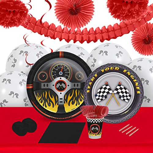 BirthdayExpress Racecar Racing Party Supplies - Tableware and Decoration Party Pack for 16 Guests