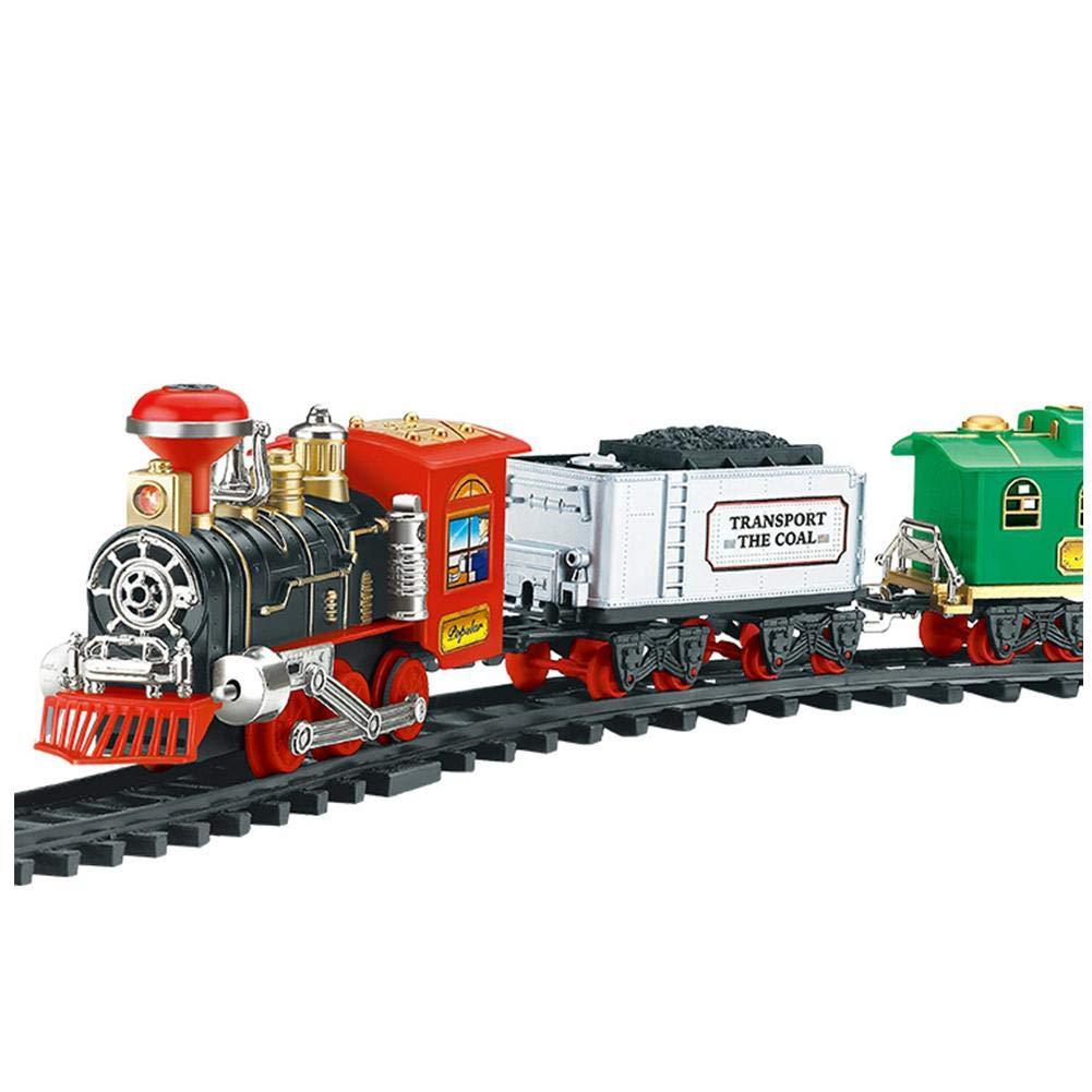 Ksruee Juego clásico Recargable de Tren de Vapor Orbita eléctrica Tren de Tren Juego de Juguete con Humo Real Luces y Sonidos auténticos niños Boy ...