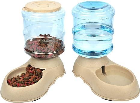 Comedero y Bebedero Automático para Gatos y Perros.1 Dispensador de Agua y 1 de Comida Antideslizantes de gran Capacidad (3,75L) para Mascotas. Materiales de gran calidad (2 piezas): Amazon.es: Productos para mascotas