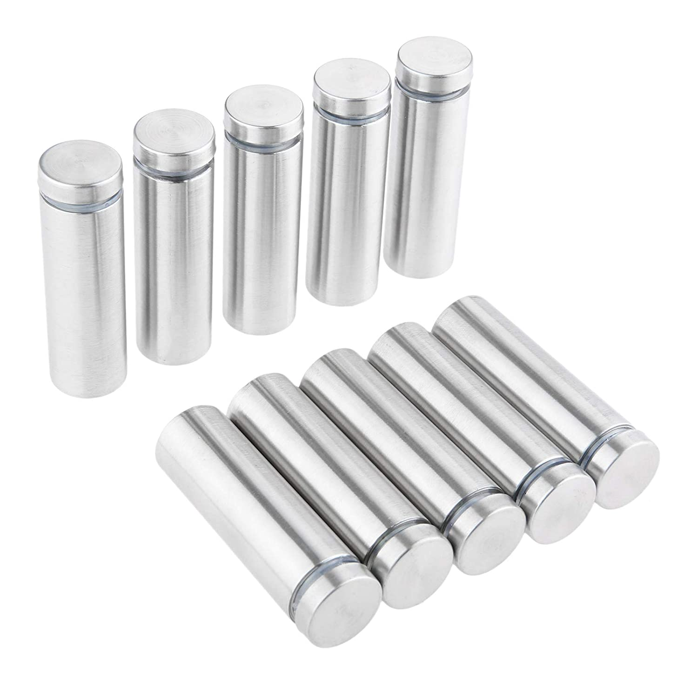 10pcs Edelstahl 19x80mm Glasabstandshalter Schraubenn/ägel Werbung Schraube Standoff Pins