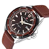 Mens Analog Quartz Watch Casual Dress Watch Unique Classic Rose-gold Plated Luminous Hands Fashion Wrist Watch Brown Leather Band Cheap Watch on Sale 30 M Waterproof -Brown