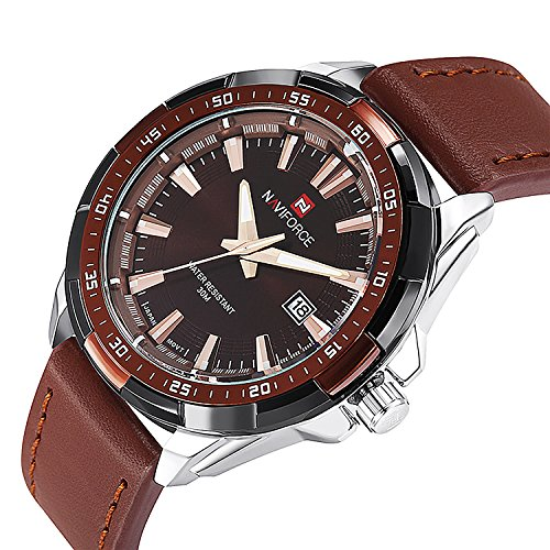Aposon Mens Analog Quartz Watch Casual Dress Watch Unique Classic Luminous Hands Fashion Wrist Watch Brown Leather Band 30 M Waterproof Cheap Watch on Sale -Brown