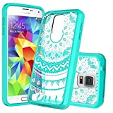 Samsung Galaxy S5 Phone Case Clear,Anoke Scratch Resistant Mandala Flower Back Cute Acrylic TPU Bumper Slim Fit Thin Protective Cover Cases with HD Screen Protector for Girls Women Galaxy S5 CH Mint