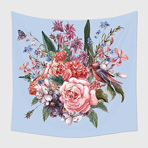 Home Decor Tapestry Wall Hanging Gentle Spring Floral Bouquet With Roses Hyacinths Butterfly And Wild Flowers In Vintage Style for Bedroom Living Room Dorm