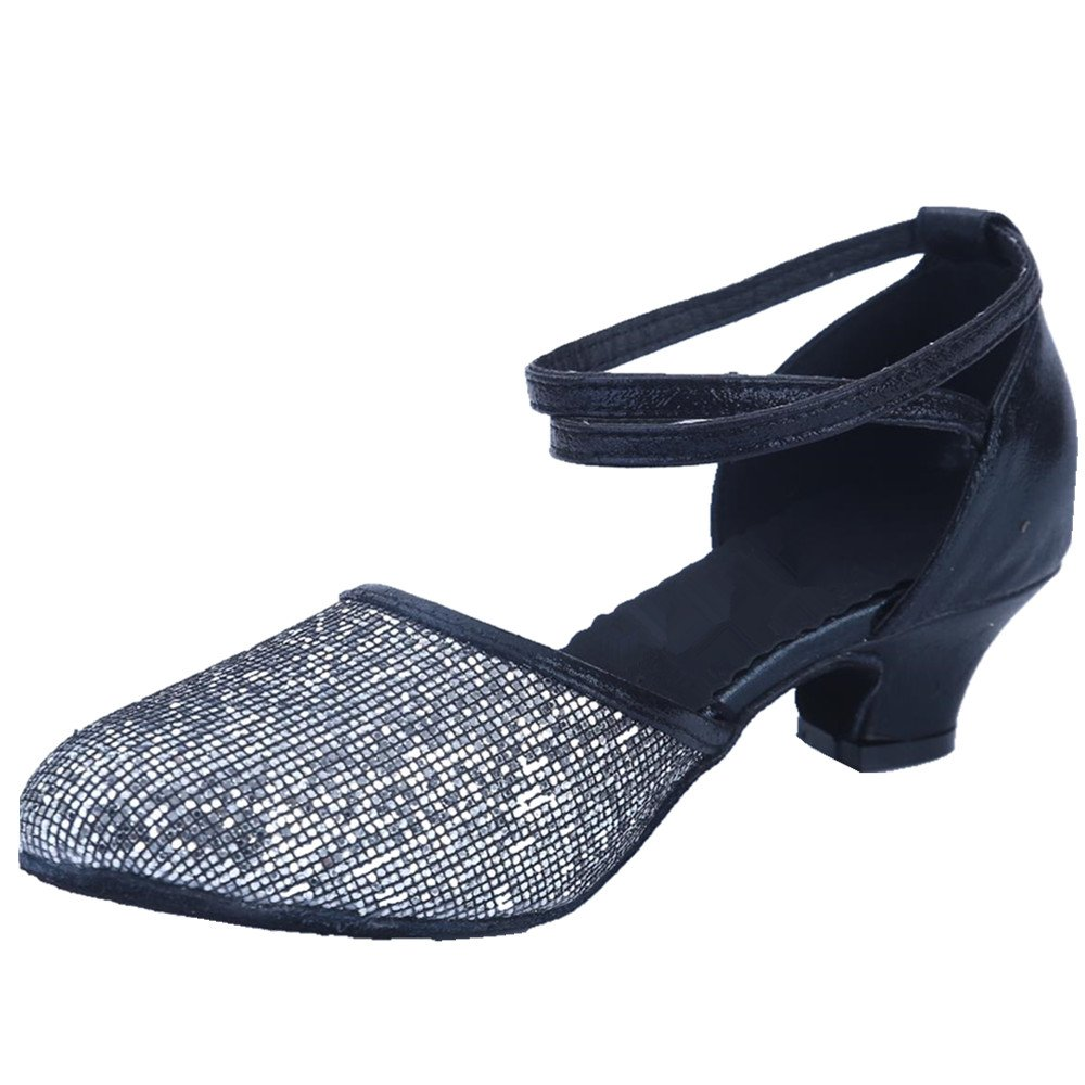 98cdb6b4e16a9 AYMYPL Women's Sequined Leather Pointed Toe Kitten Heel Latin Ballroom  Dance Shoes