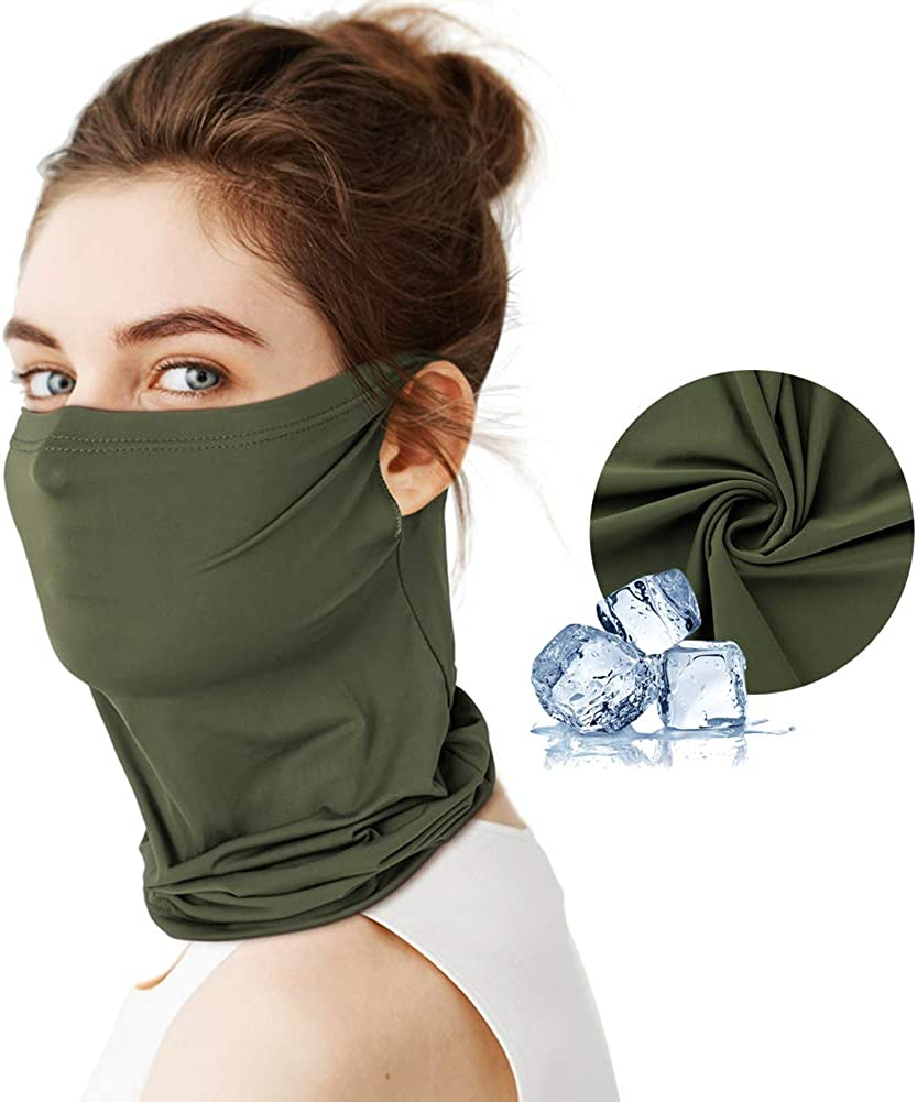Cycling Fishing LUNGEAR Bandana with Earloop Cooling Neck Gaiter Summer Face Snood Scarf Breathable Motorcycle Bandana Headband for Outdoor Sports Running