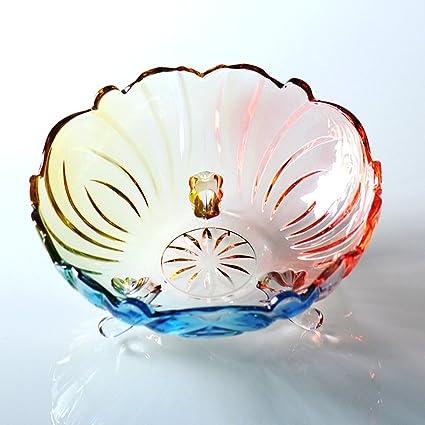 YWXG gran plato de fruta de cristal de vidrio Estilo europeo moderno Tazón de ensalada creativo