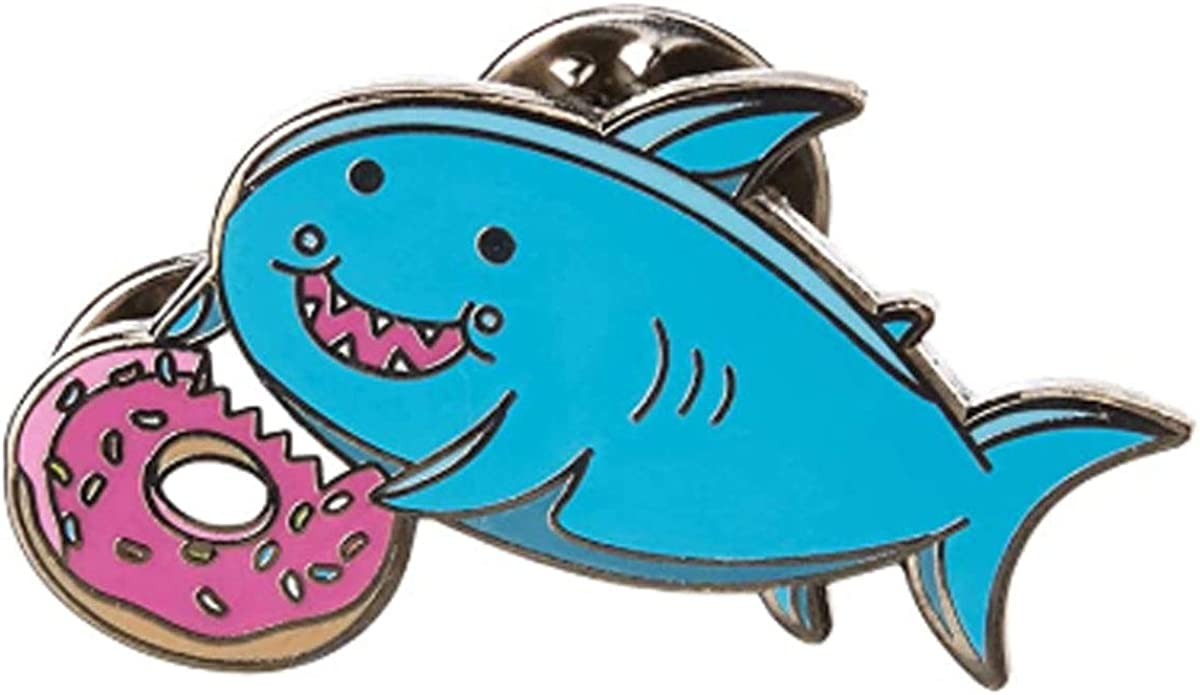 Stickeroonie Shark Pin Enamel Pins for Backpacks Cute Pins for Jackets Hat Pins Cute Fat Shark Donut Foodie Enamel Lapel Pin 1.2 Inches Cute Backpack Enamel Pin Backs