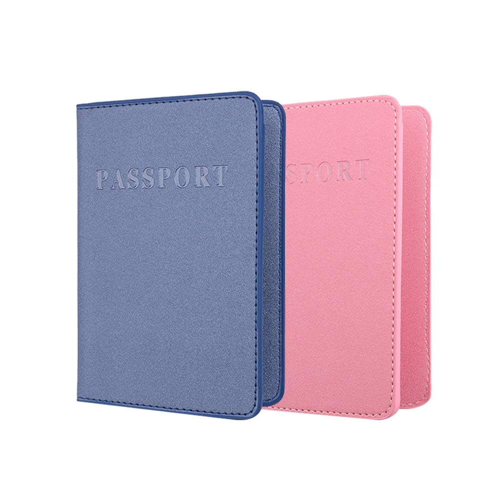 Blue and Pink TENDYCOCO 2pcs Passport Holder Dull Polish Card Holder Card Pouch PU Leather Card Passport Organizer Wallet
