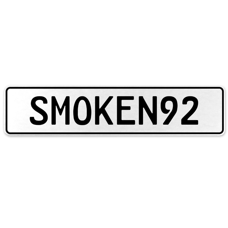 Vintage Parts 556273 SMOKEN92 White Stamped Aluminum European License Plate