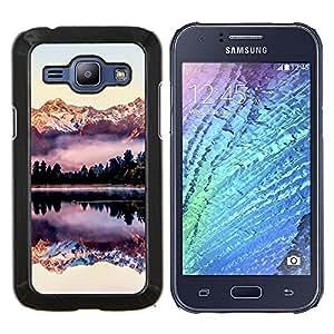 LECELL--Funda protectora / Cubierta / Piel For Samsung Galaxy J1 J100 -- Reflexión montañas Snow View --
