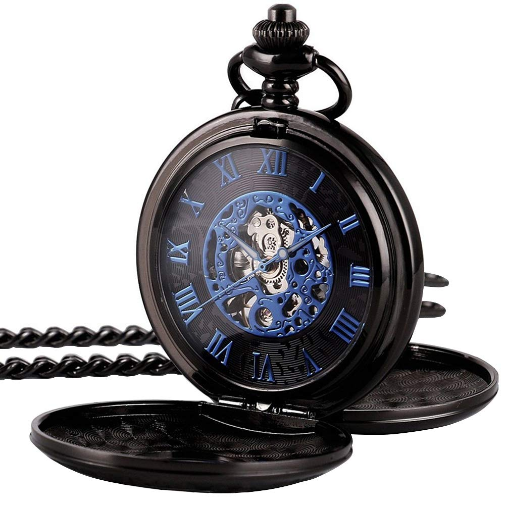 TREEWETO Mens Pocket Watch Black Half Hunter Double Cover Skeleton Mechanical Blue Roman Numeral Fob Watch by TREEWETO
