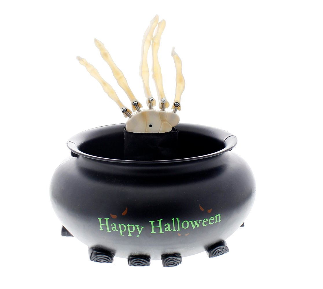 Skeleton Hand in Cauldron Motion Activated Animated Candy Bowl - 9''W x 2.5''H