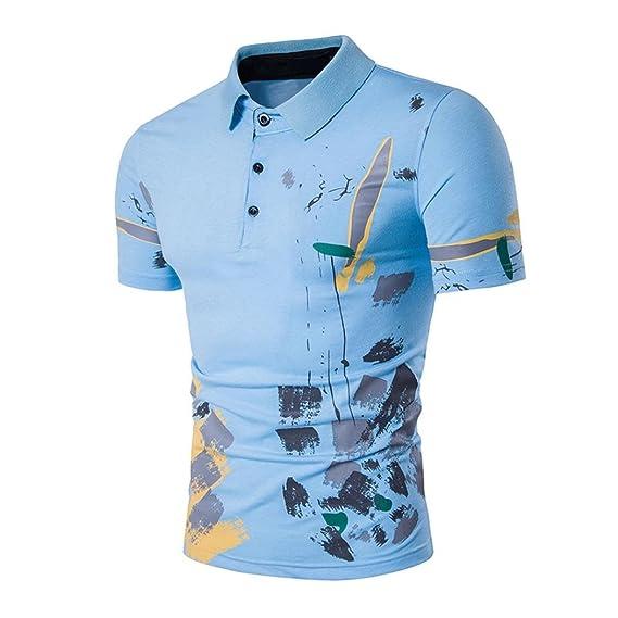 Poloshirt Kanpola Bedruckte T-Shirt Herren Slim Fit Shirt Sweatshirt  Unterhemden Muskelshirt Tee Top Blouse 23eea4be68