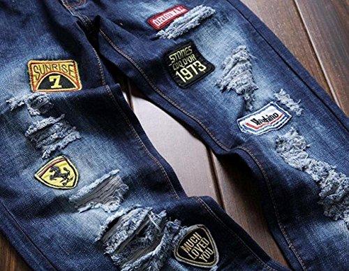 Agujeros Denim Algodón Ocio Parche Insignia Bordado Pantalones Skinny Azul Slim Jeans Rectos Hombre Fit Pantalones De qpSdCxwgq