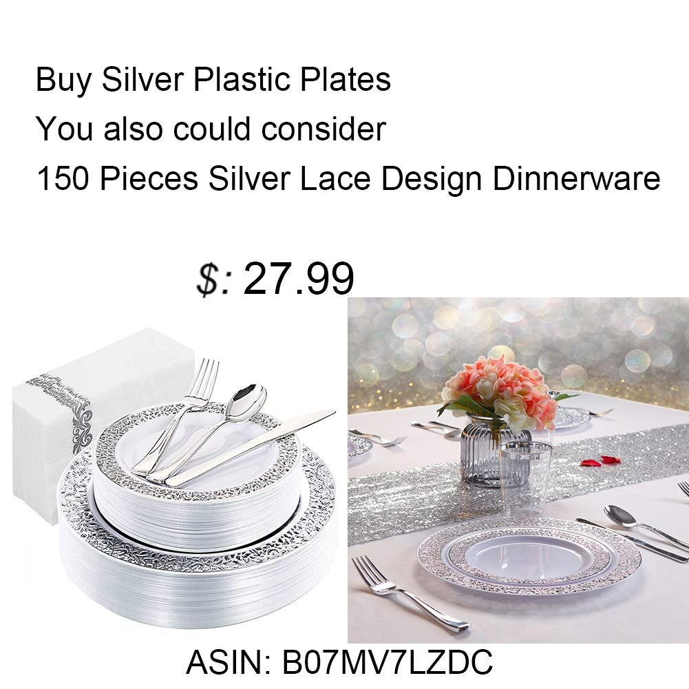 WDF 120PCS Silver Plastic Plates-Disposable Plastic Plates with Silver Rim- Plastic Wedding Party Plates including 60Plastic Dinner Plates 10.25inch,60 Salad Plates 7.5inch by WDF (Image #6)