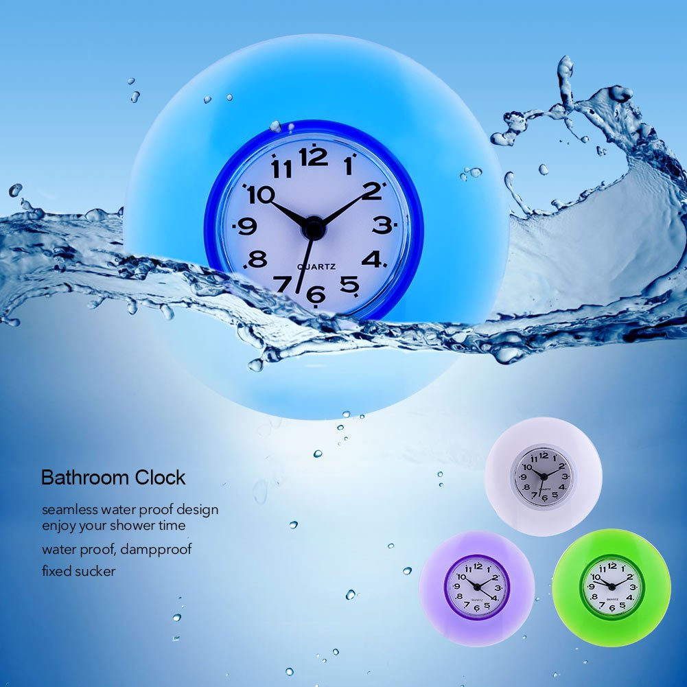 Mini Cute Mirror Suction Wall Clock Shower Waterproof Quartz Clocks Decoration for Bathroom, Kitchen, Living Room, Bedroom Flexible Options to Hang or to Stand(Blue) Garosa