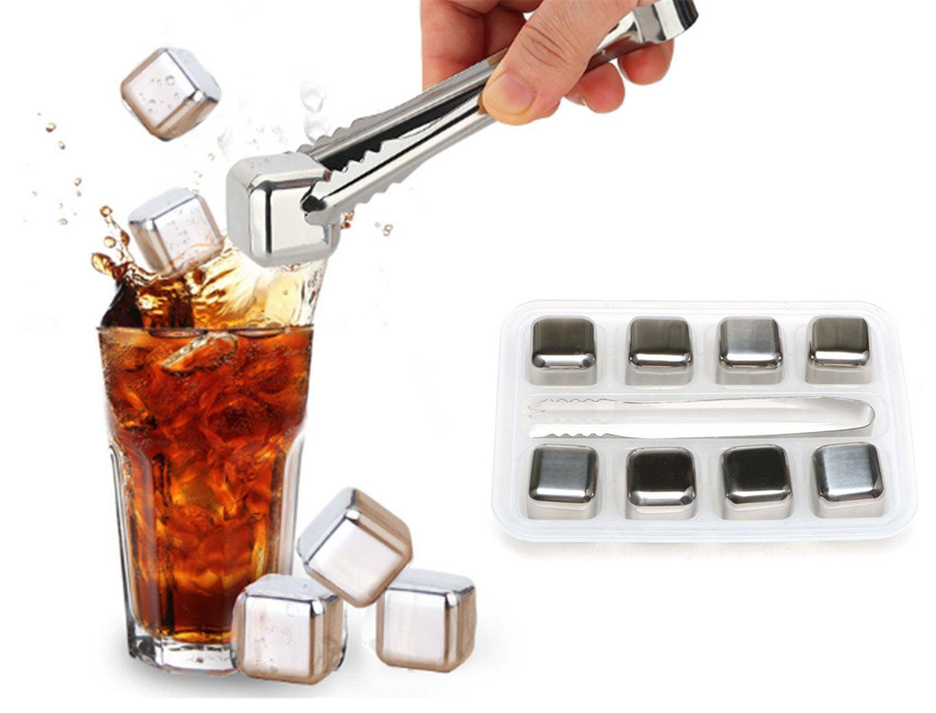 Edofiy Whiskey Stones-Set of 8 Stainless Steel Chilling Reusable Ice Cubes for vodka liqueurs white wine With Freezing Storage Tray and Tongs