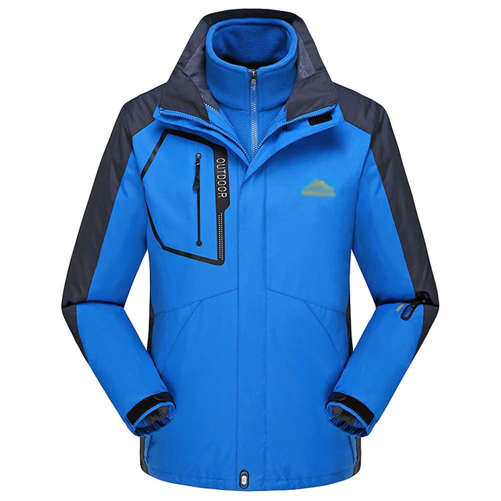 NDHSH Mens Wandern Fleece Jacke Regen Mantel 3 in 1 Outdoor warme Jacken Ski Mountain Jacken Kapuze Wintersport Jacken Winddichter Mantel,Blue-XXL
