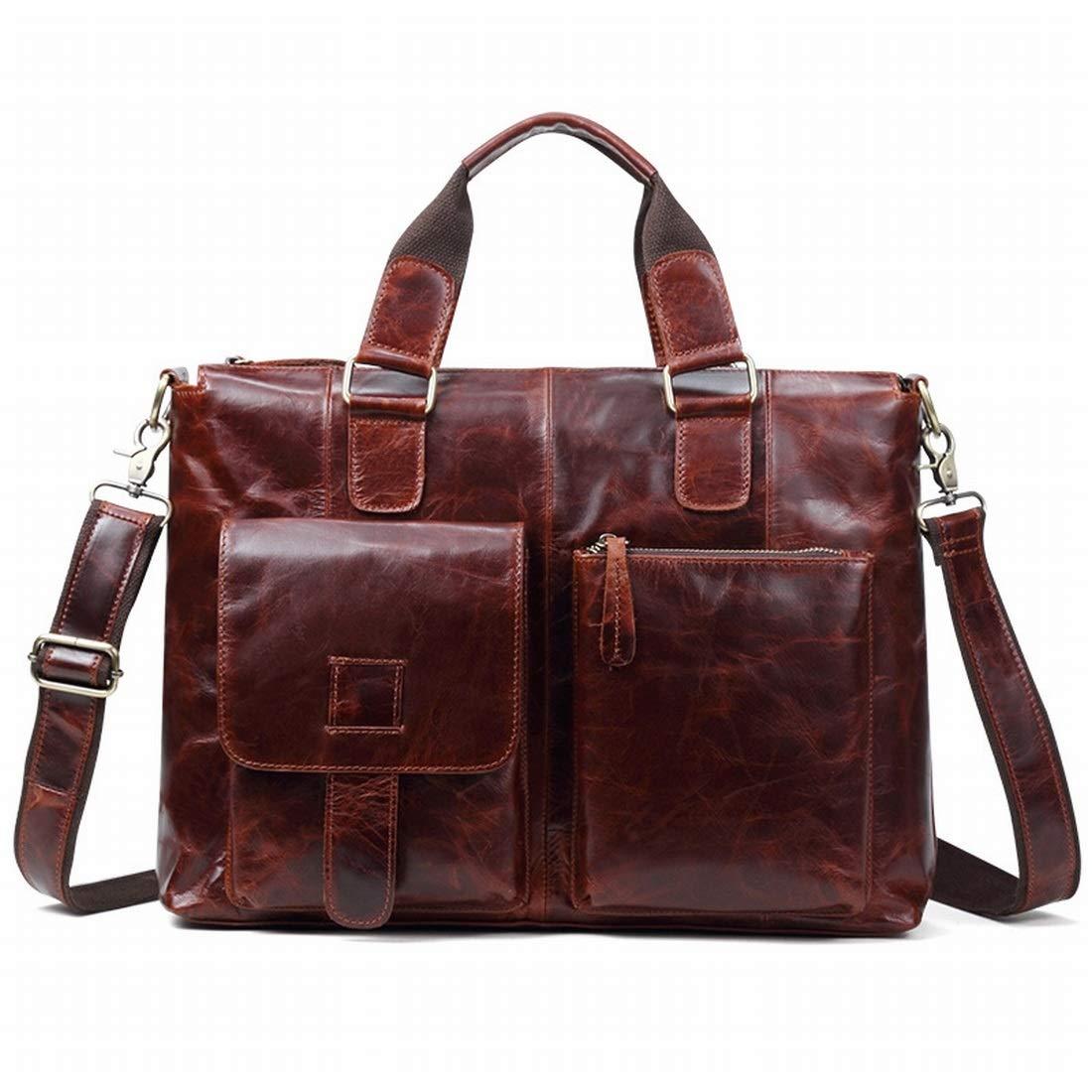 Souliyan Vintage Briefcase Business Handbag Horse Leather Shoulder Bag Messenger Bag Satchel Bag Color : 1