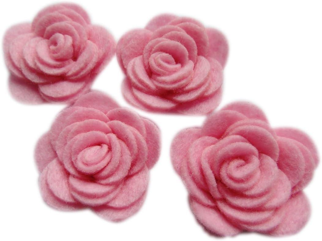 rose in feltro da 3,8 cm per applicazioni su un nastro 20 pezzi Grey YYCRAFT confezione di fiori 4D