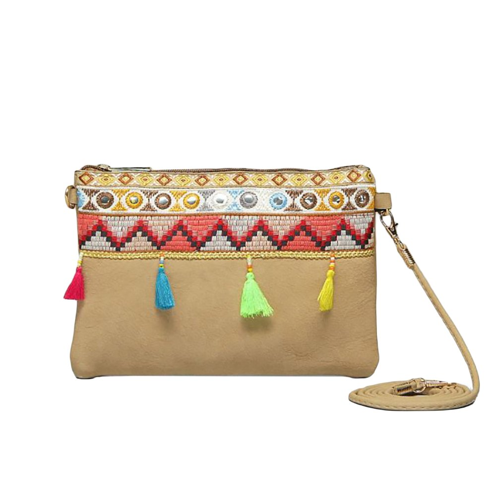 Boho Ladies Clutch Real Natural Leather Shoulder Bag with Tassels and Embroidery Adjustable Strap Bohemian Hippie Ethnic Purse (Beige New)